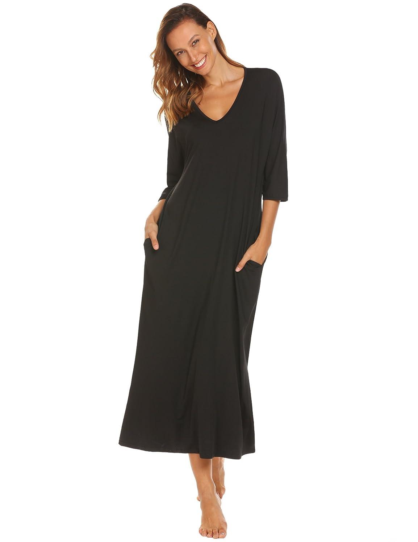 Ekouaer Nightgown Womens Oversized Loose Fit Sleepwear Long Loungewear Dress S-XL EKK007943