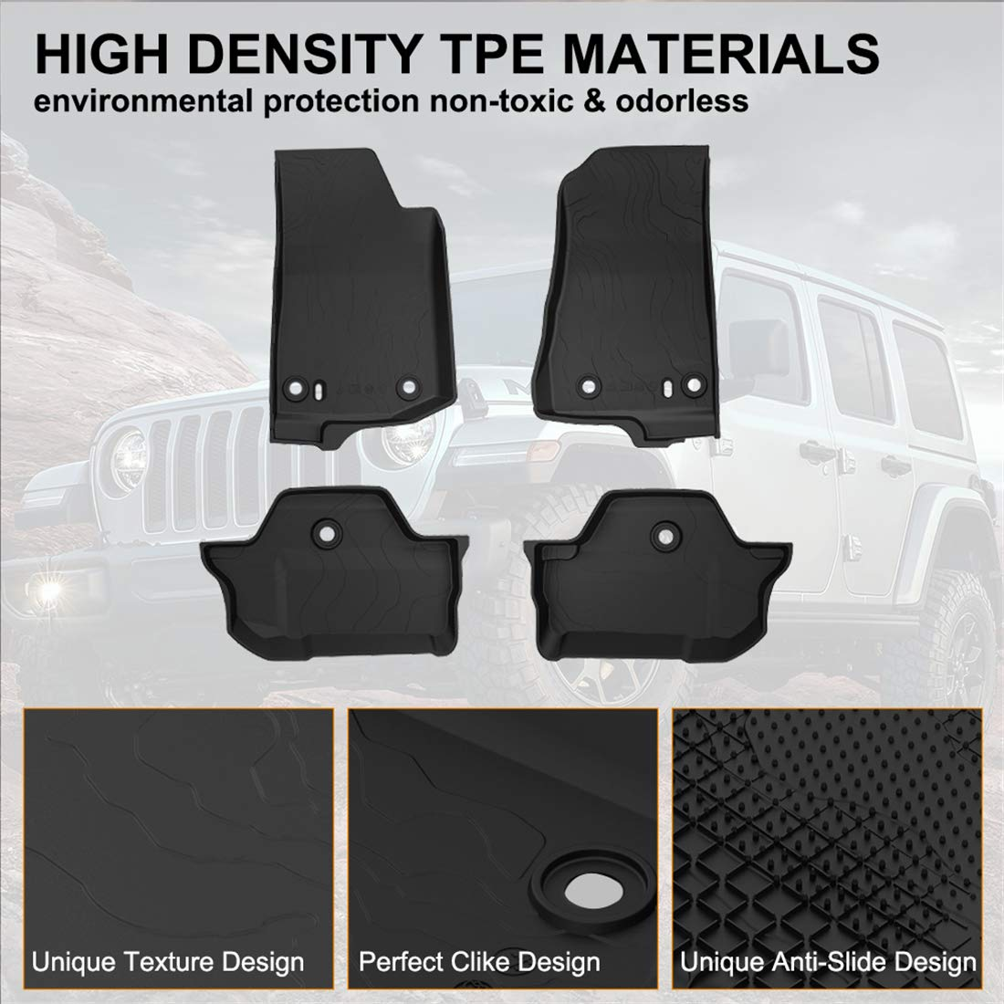 KIWI MASTER Floor Mats Compatible for Wrangler JL 2018 2019 New Jeep 4-Door OEM Floor Liners TPE All Weather Protector Slush Mat Front and Rear Row Black