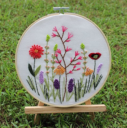 Cross Stitch Stamped Embroidery Kit – Eafior DIY Beginner Counted Starter Cross Stitch Kit for Art Craft Handy Sewing Including Color Pattern Embroidery Cloth,Embroidery Hoop,Color Threads,Tools Kit
