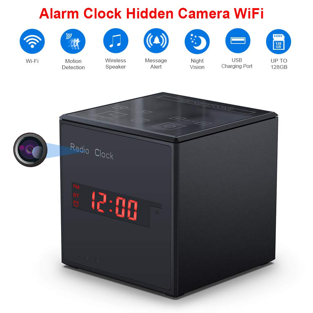 WiFi Hidden Camera Alarm Clock Radio, Wireless Speaker Nanny Camera with Motion Detection,US FM Radio,USB Charging Port, Touch Activated Control and Aluminum Alloy Body Spy Cam for Home and Office