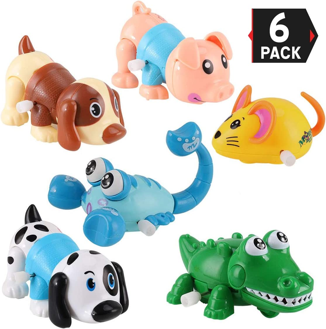 Includes Pig, Mouse, Dog, Scorpion, Crocodile, Puppy 6 Pack Big Wind Up Cartoon Animals for Kids Party Favors Carnival Prizes Classroom Goody Bag Fillers