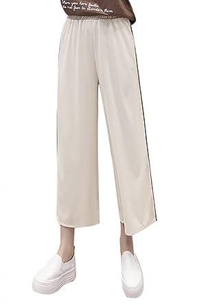 Femme Pantalon Eté Elégante Taille Élastique Couleur Unie Jupe Pantalon  Pantalons Palazzo Bouffant Jeune Mode Fille Pantalon Droit Basic Pantalon  De Loisirs ... e19555895613