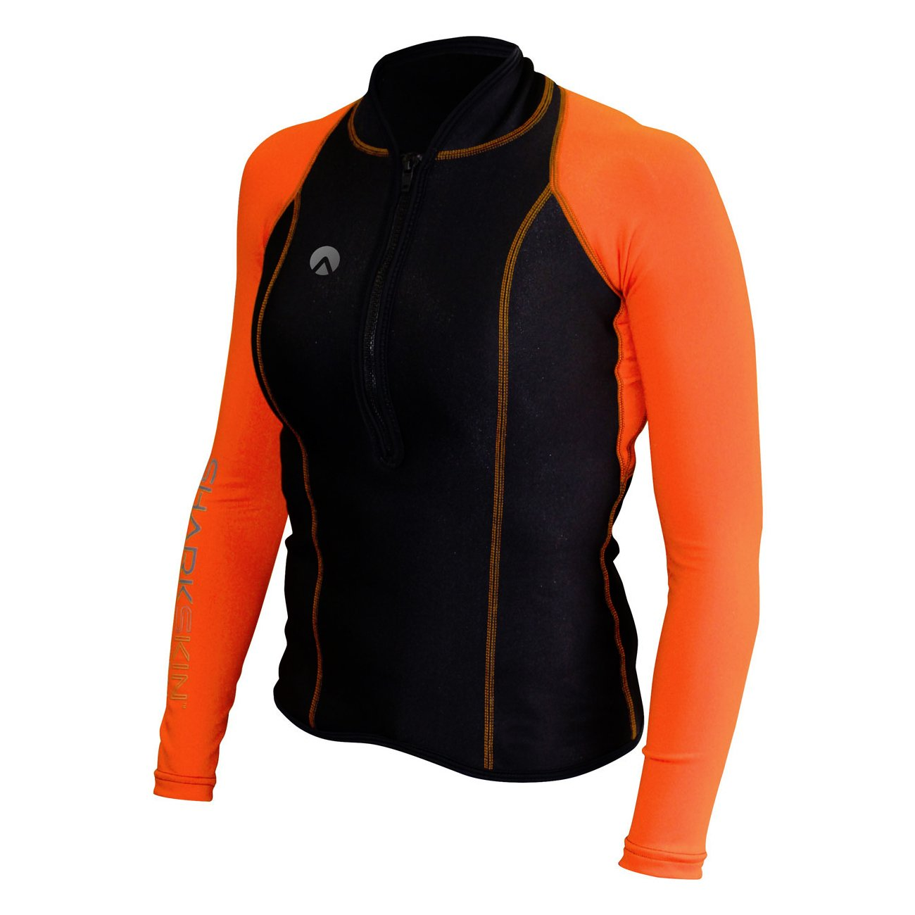 Sharkskin Women's Chillproof Performance Wear Longsleeve Shirt Rash Guard Scuba Water Sports Diving Snorkeling (Orange, 0)