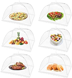 (6Pack) Large Pop Up Mesh Screen Food Cover for Outdoors,17x17Inches Food Tents Umbrella for Picnics, BBQ, Camping & Outdoor Cooking,Collapsible and Reusable