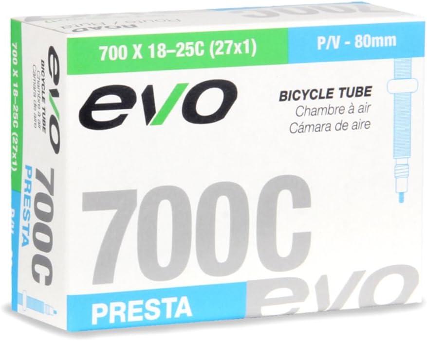 EVO Bicycle Tube 700x18-25C//27x1-1 1//8-80mm Presta Valve