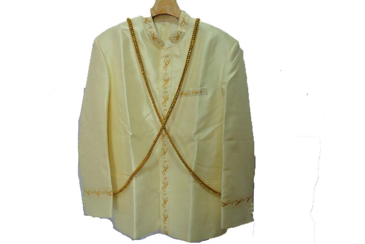 Men's Beige Lao Laos Silk Wedding Top Shirt Jacket sz XL Gold Chain