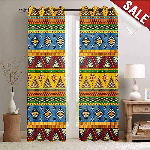 Aztec Wall Mount - Flyerer Aztec, Decorative Curtains for Living Room, Traditional Classic Tribal Style Folk Motif with Sun Figure Ancient Mexican Culture Image, Waterproof Window Curtain, W72 x L96 Inch Multi