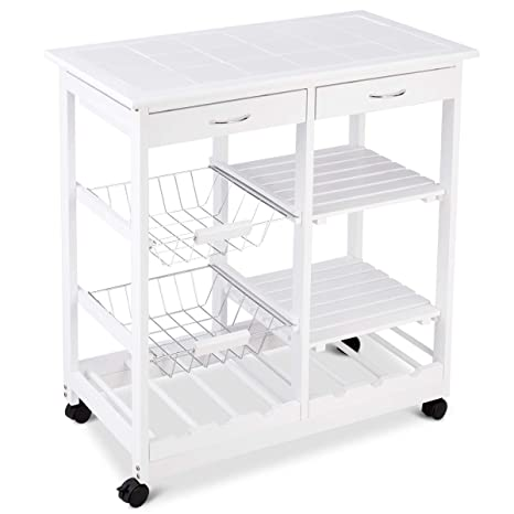 Giantex 4 Tier Rolling Wood Kitchen Trolley Island Cart Storage Shelf Drawer Wine Rack