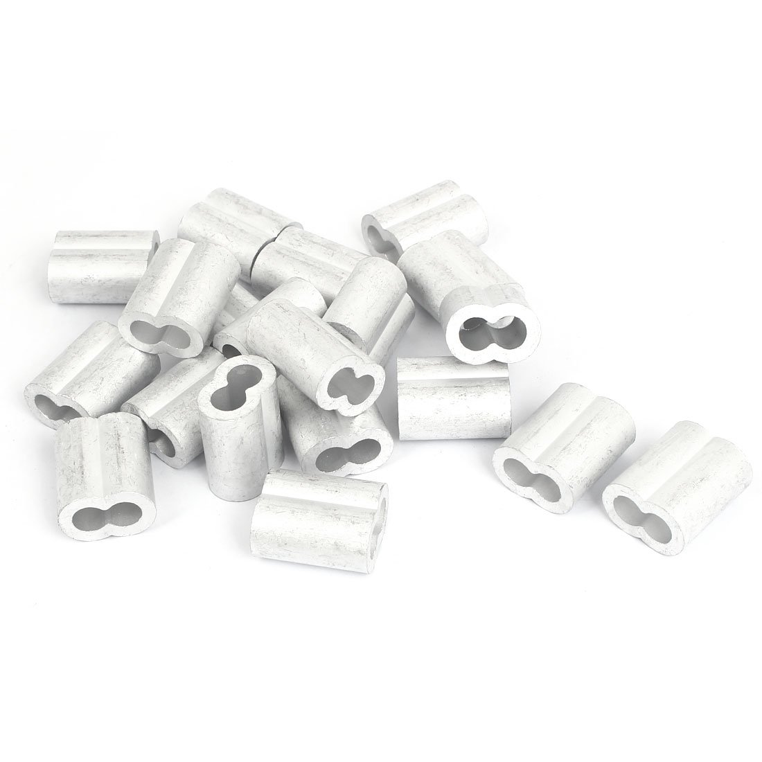 uxcell 8mm 5/16'' Double Hole Aluminum Swage Sleeve Wire Rope Clamp Clip 20pcs
