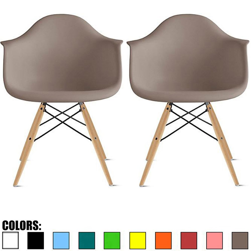 2xhome Set of 2 Taupe Gray Mid Century Modern Plastic Dining Chair Molded Arms Armchairs Natural Wood Legs Desk No Wheels Accent Chair Vintage Designer for Small Space Furniture Living Room Desk