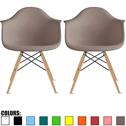 2xhome Set Of 2 Gray Mid Century Modern Plastic Dining Chair Molded Arms Armchairs Natural Wood