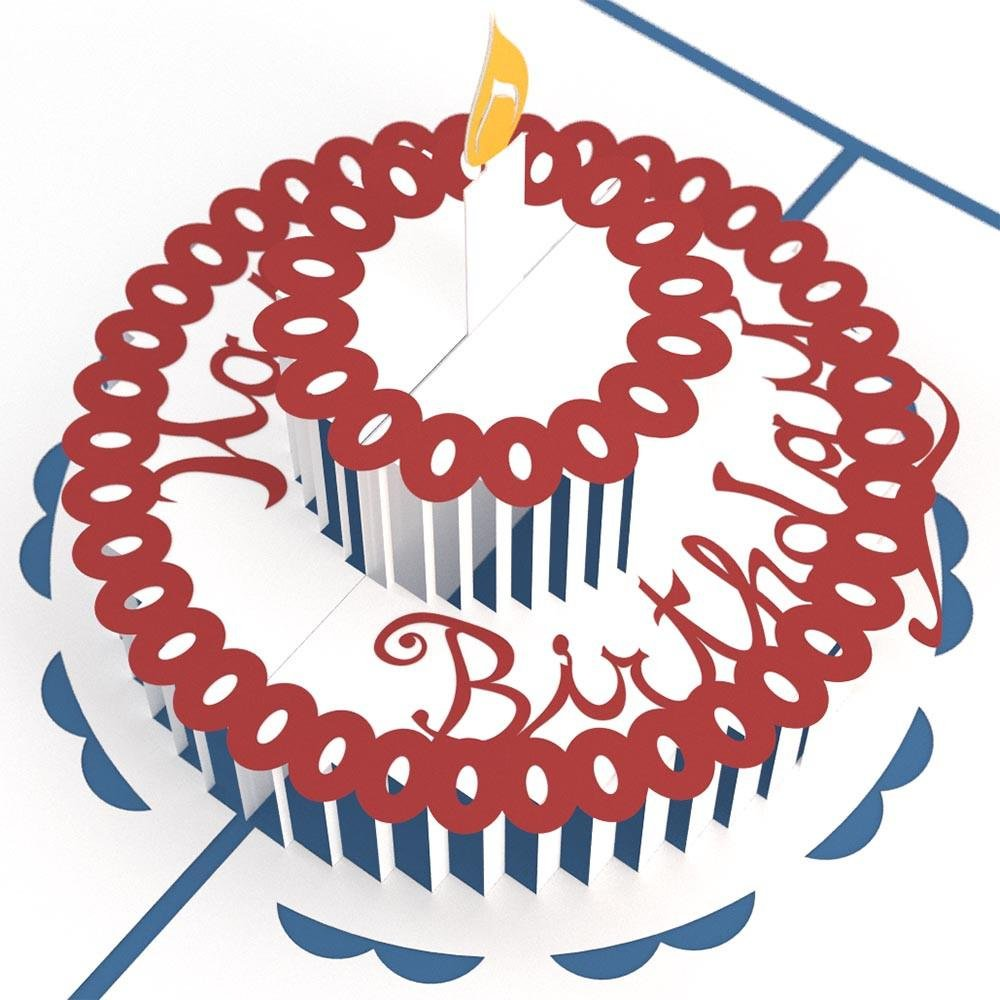 Lovepop Birthday Cake Blue 3D Pop-Up Greeting Card