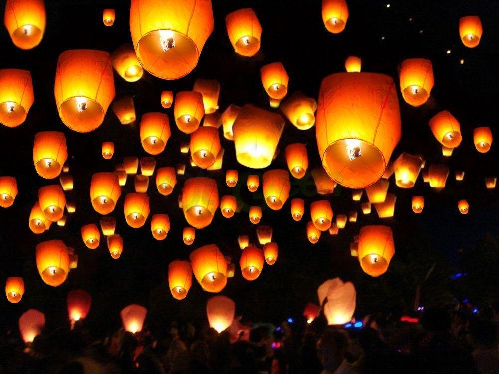 50 PCS White Paper Chinese Lanterns Sky Fire Fly Candle Lamp Wish Party Wedding Decoration