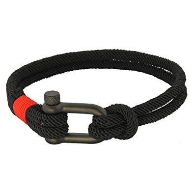 9274a60657afc3 Fabric Rope Ankle Wrist Friendship Surf Bracelet in Black/Red with a Nautical  Anchor Shackle