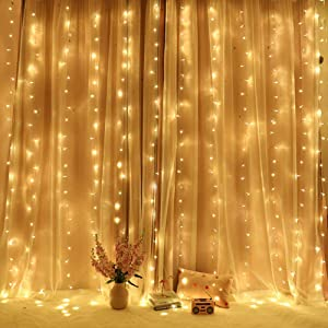 Home Lighting 300 LED Curtain Window Lights Fairy String Lights Wall Bedroom Wedding Birthday Party Christmas Decorations, Warm White