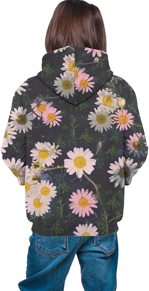Teen Pullover Hoodies with Pocket Rose Daisy Floras Soft Fleece Hooded Sweatshirt for Youth Teens Kids Boys Girls