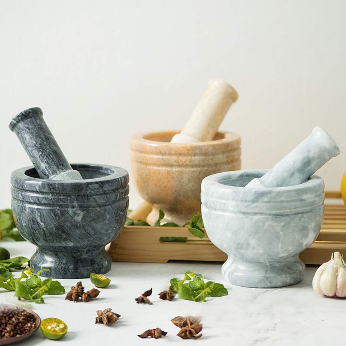 Macinatura di Spezie e Frantuma Pillole Pietra Naturale,Nero Pestello e Mortaio in Marmo,Ideale per Pasta Abrasiva