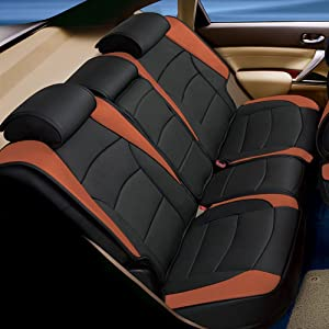 FH Group PU205013 Ultra Comfort Leatherette Bench Seat Cushions, Brown/Black Color- Fit Most Car, Truck, SUV, or Van