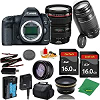 Great Value Bundle for 5D MARK III DSLR – 24-105MM L + 75-300MM III + 2PCS 16GB Memory + Wide Angle + Telephoto Lens + Case