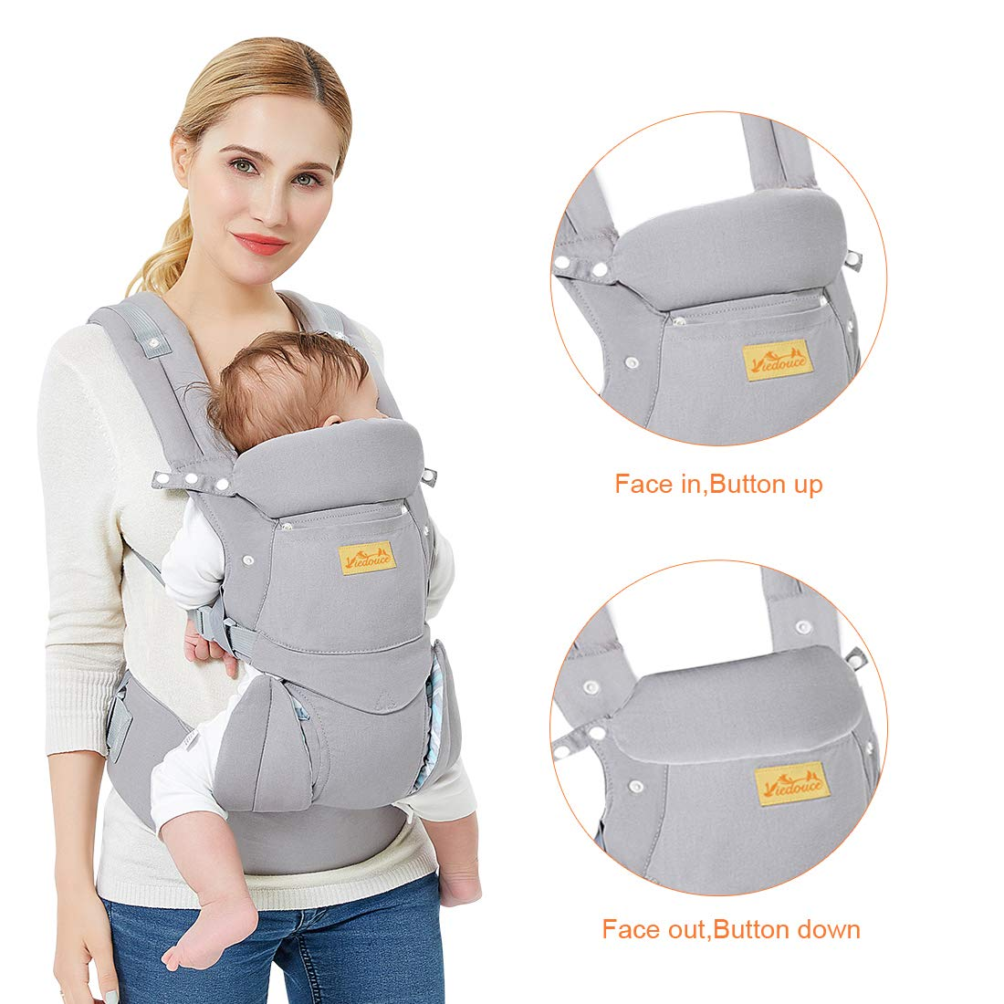 Adjustable for Newborn and Toddler from 0 to 4 years 3.5 to 20 kg Ventral Viedouce Baby Carrier Ergonomic with Hip Seat// Pure Cotton Lightweight and Breathable// Multiposition:Dorsal