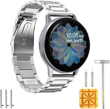 Imagen deSPGUARD Pulsera Compatible con Samsung Galaxy Watch Active 2 Correa,Correa de Repuesto de Acero Inoxidable 20mm para Samsung Galaxy Watch Active 2 40mm/44mm-Plata