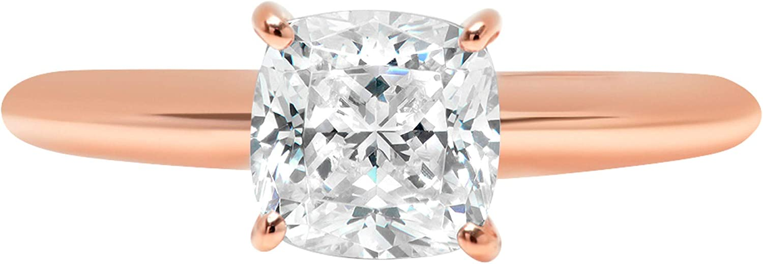 2.0 ct Brilliant Cushion Cut Solitaire Stunning Genuine Lab Created White Sapphire Ideal VVS1 D 4-Prong Engagement Wedding Bridal Promise Anniversary Ring Solid 14k Rose Gold for Women