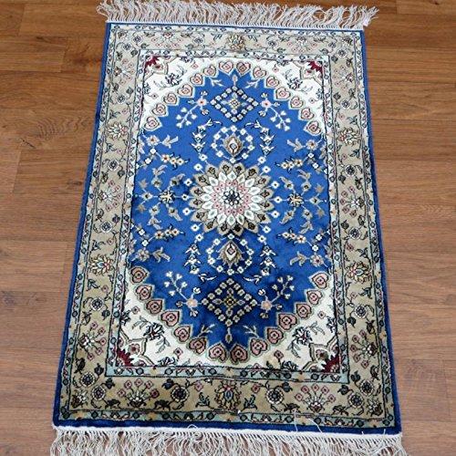 Hereke Silk Rug Youtube: 2.5'x4' Miniature Rug Handmade Traditional Blue Oriental