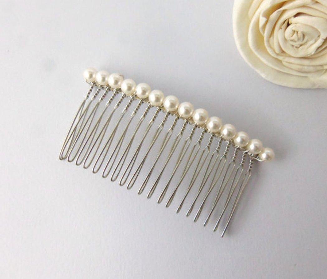Aukmla Peignes diapositives Mariage Swarovski Perles Peigne à cheveux simple Oreillette de mariage pour les femmes et les filles