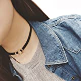 2PCS Fashion And Personality Collarbone Chain Choker Necklace With Metal Ring Adjustable Collar Bib Collar Chain Necklace for Women Girls Best Gift(Black) est Xmas Gift