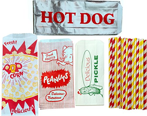 (Outside the Box Papers Ultimate Carnival Party Pack - 24 Foil Hot Dog Bags 24 Printed Pickle Bags , 24 Peanut Bags ,24 Popcorn Bags and 25 Each of Red and Yellow Paper Straw)