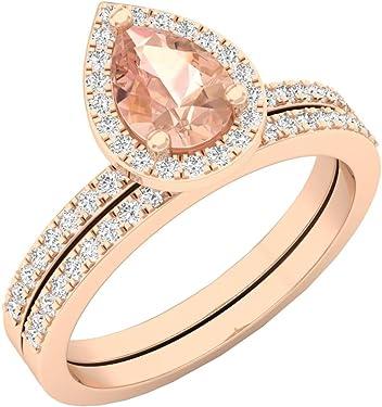 anillo compromiso oro rosa en forma de lágrima o gota o pera