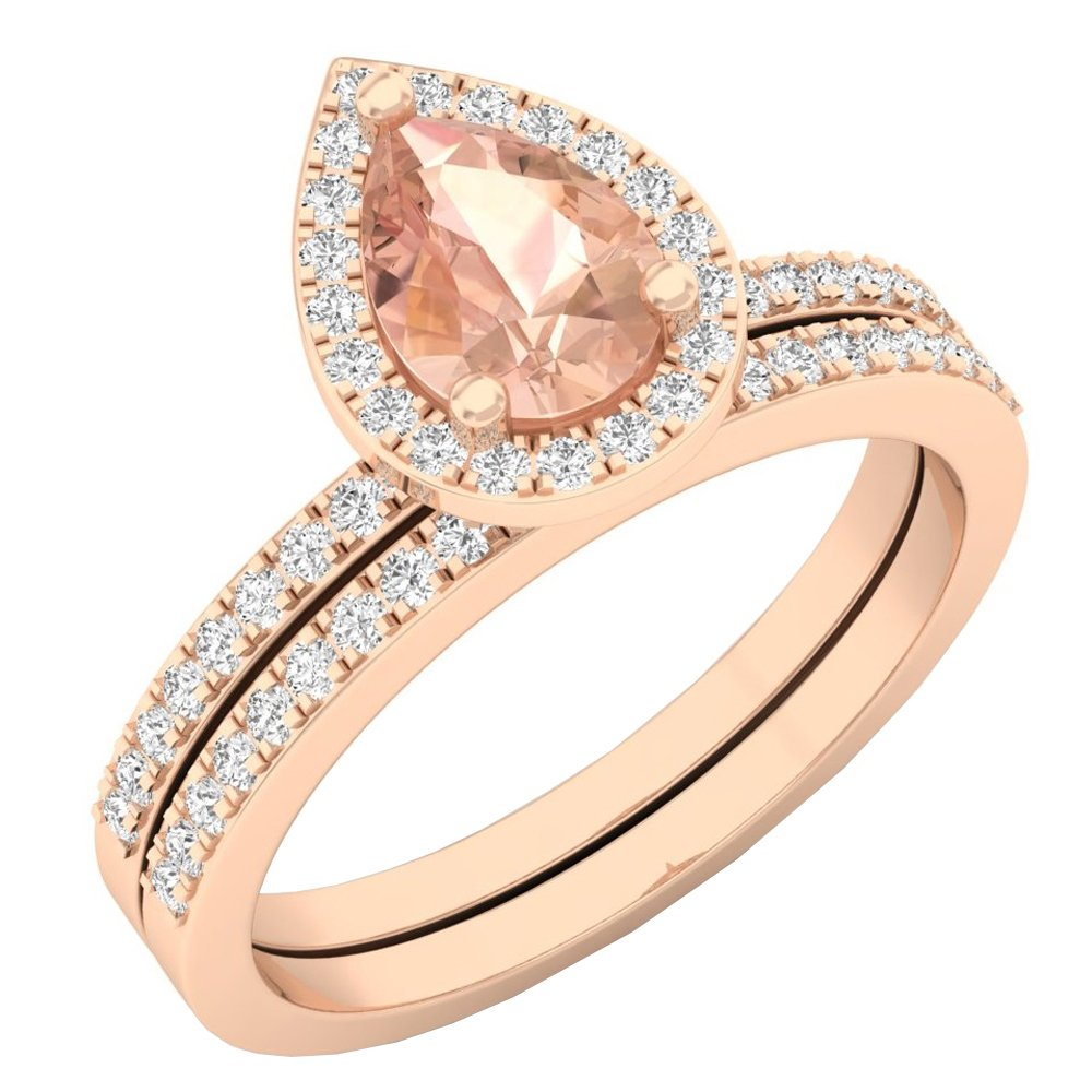 10K Rose Gold 7X5 MM Pear Morganite & Round Diamond Ladies Bridal Engagement Ring Set (Size 7.5)
