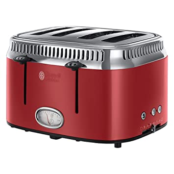 Russell Hobbs 21690-56 Tostador 4 ranuras, color rojo 2400 W, Acero Inoxidable