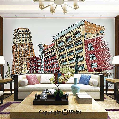 Lionpapa_mural Self-Adhesive Large Wallpaper Better Designs for Living Room,Grunge Graphic of European Avenue Modern Urban Life Downtown City Streets,Home Decor - 66x96 -