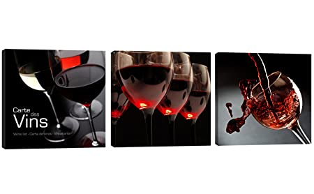 AMC ART Canvas Wall Art 3 Panels Wine Canvas Prints Wall Art Painting Red  Wine In