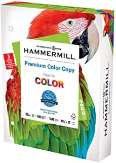 product image for Hammermill Printer Paper, Premium Color 28 lb Copy Paper, 3 Hole - 1 Ream (500 Sheets) - 100 Bright, Made in the USA