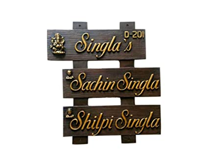 Buy Homesigns Door Home Outdoor 3 Panel Nameplate Brown Online At Low Prices In India Amazon In