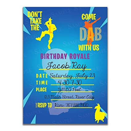 25 Invitations 25 Envelopes Battle Royale Don T Take The L Come Dab With Us Single Sided Video Game Invitations Battle Royale Birthday Party