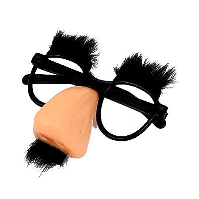 Gafas de payaso - SODIAL(R)Gafas redondas con nariz rosada y bigote negro de coral del payaso: Juguetes y juegos