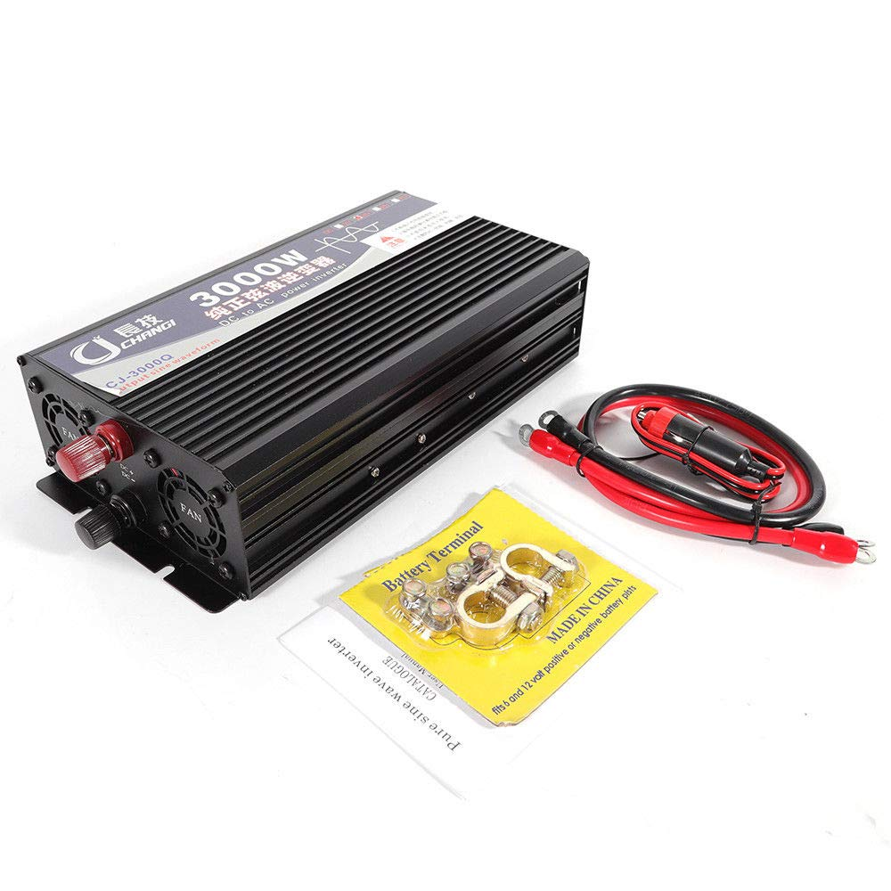 WUPYI 3000W Pure Sine Wave Power Inverter(1500W Real),12V DC /24V DC to 220V,with LED Digital Display,Battery Terminal,Cables (12V)