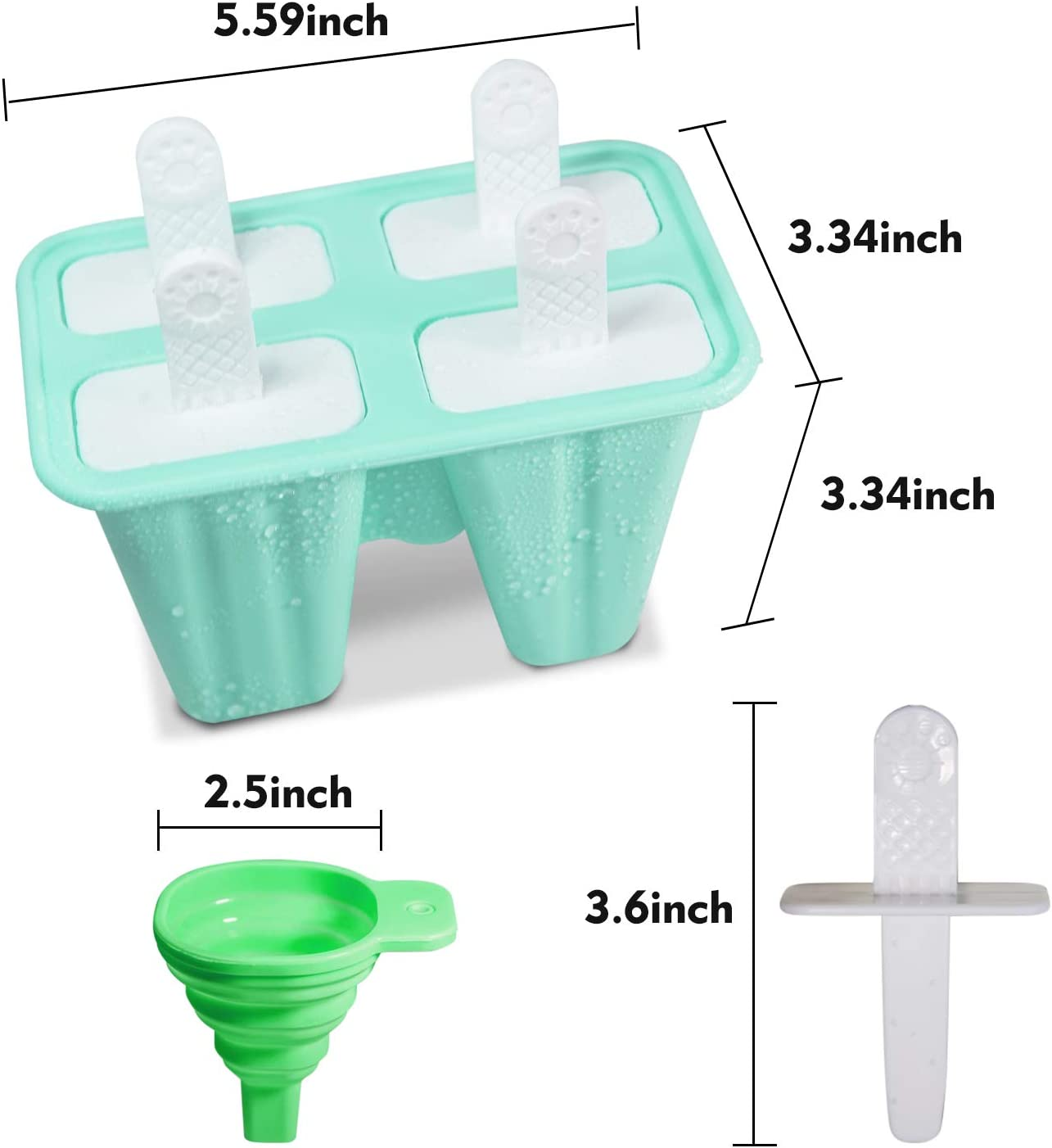Silikon-Eislutscherformen 4 Eis am Stiel Formen Set Wiederverwendbare Eisform Ice Pop Maker Eislutscherform f/ür Kinder BPA frei Mit Reinigungsb/ürste und Falttrichter Gr/ün