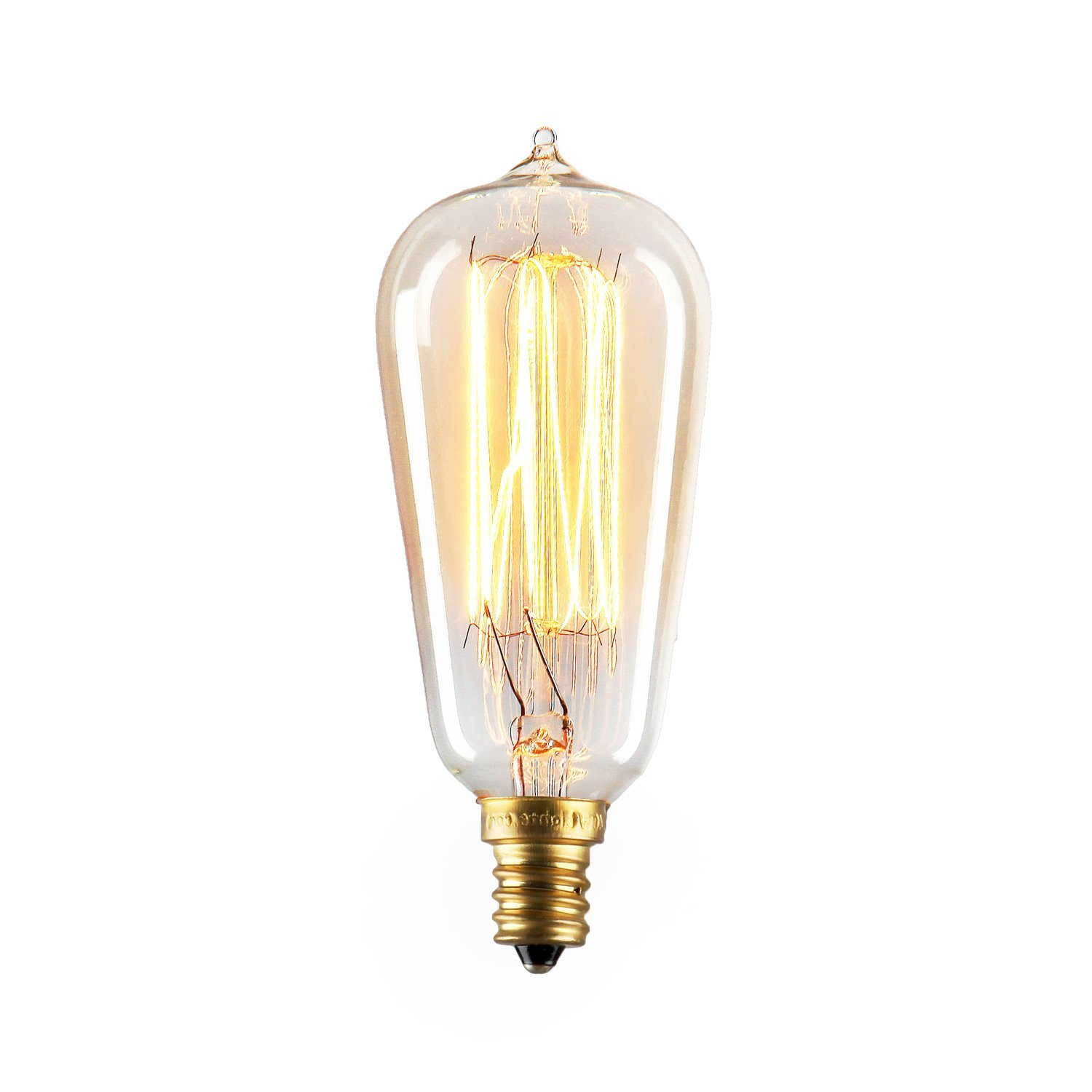 Candelabra Edison Bulbs by Brooklyn Bulb Co.   Mini Bushwick Collection, Dimmable, 40W (E12 Socket), Warm White, Squirrel Cage Filament Style   Pack of 4