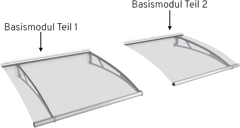 Vordach Erweiterungsmodul Vordachsystem Haust/ür Edelstahl satinierte Platte schlagfest und robust /Überdachung 122 cm XL