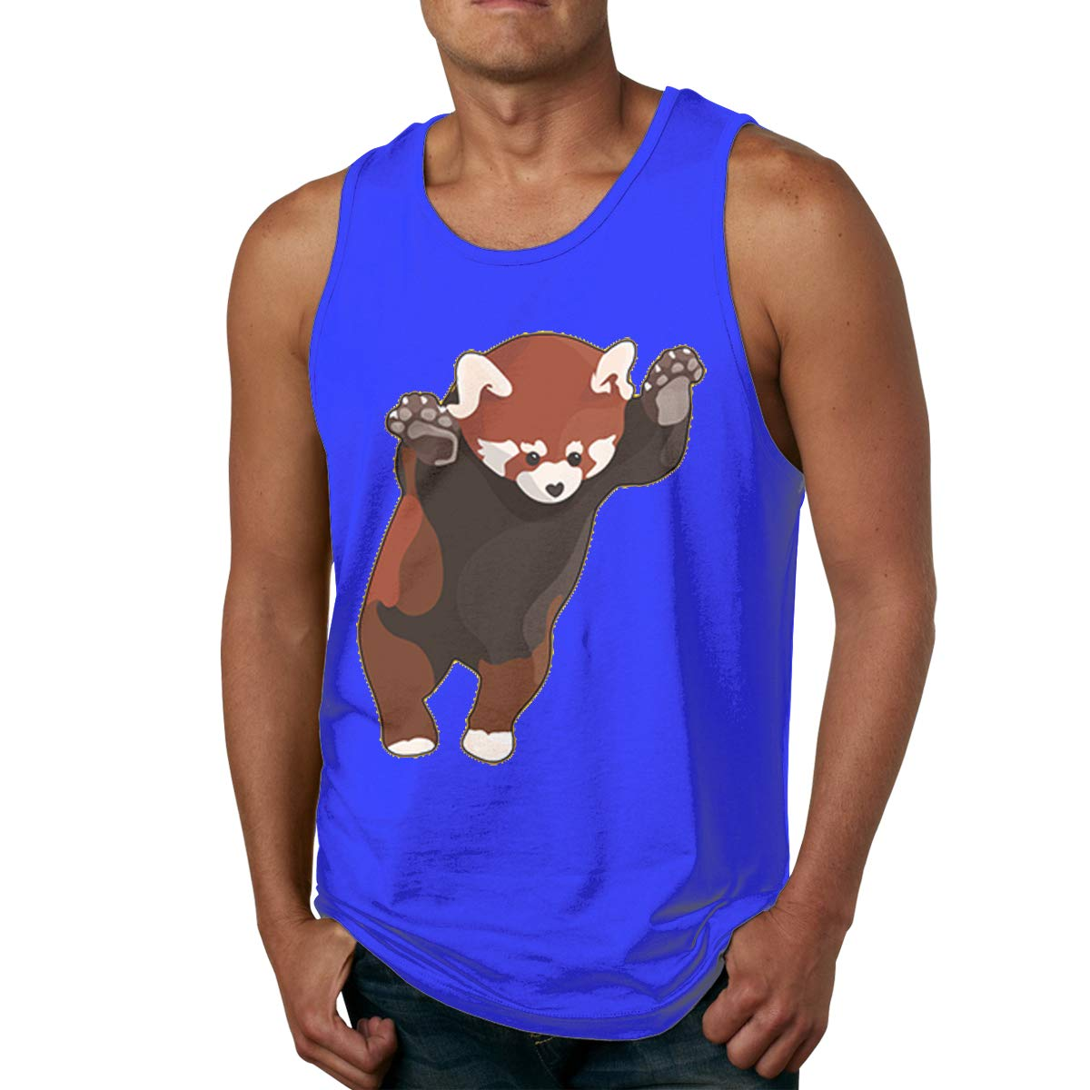 Red Panda Bear Excited Mens Cotton Undershirts Crew Neck Tank Tops