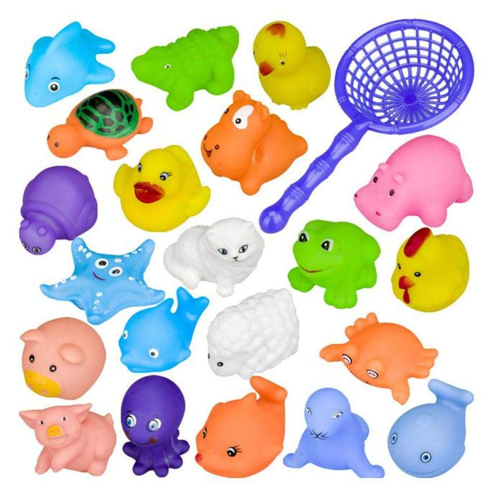 XuBa Toy Fishing Bag with sea Animal Toy Swimming Summer Play Water Bathroom Doll Faucet Bathroom Toy 20-Piece Set Random