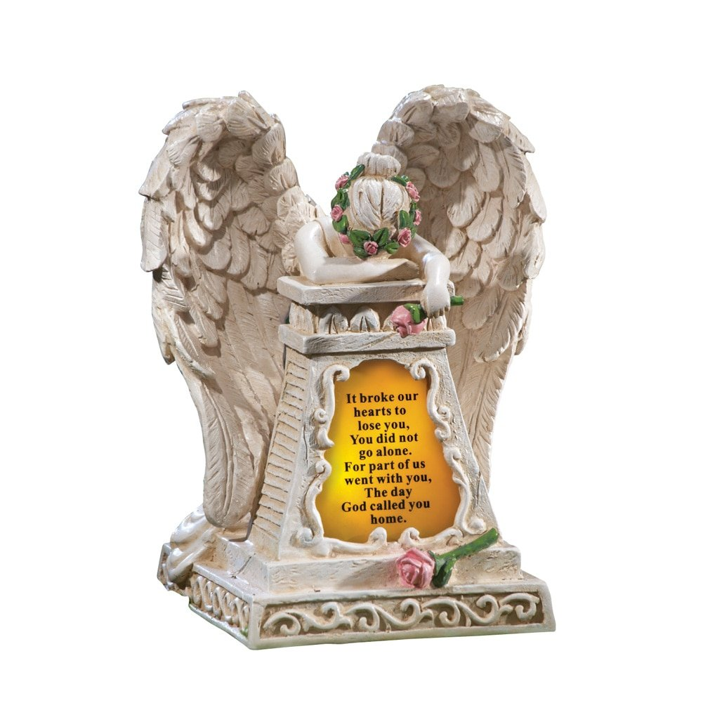 Solar Lighted Stone-Finished Weeping Angel Garden Memorial