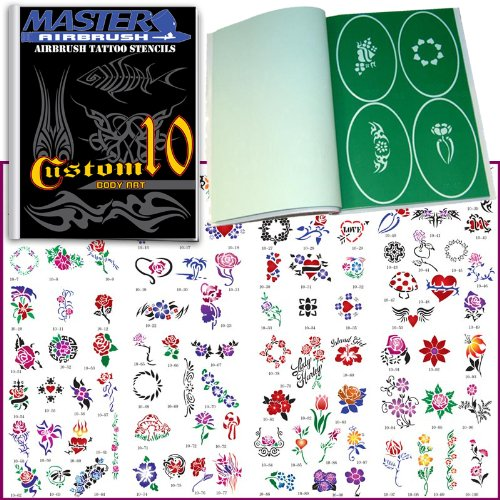 Master Airbrush® Brand Airbrush Tattoo Stencils Set Book #10 Reuseable Tattoo Template Set, Book Contains 100 Unique Stencil Designs, All Patterns Come on High Quality Vinyl Sheets with a Self Adhesive Backing. by Master Airbrush