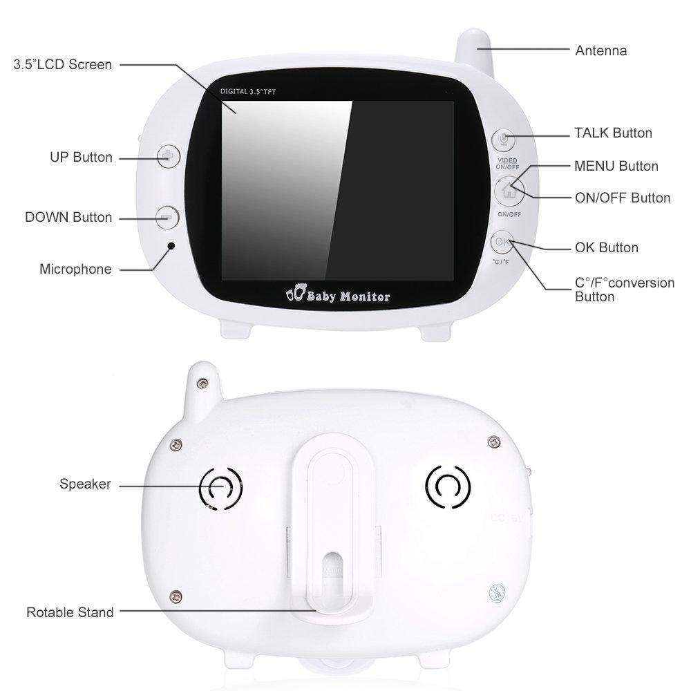 KKmoon VB601 Baby Monitor 2.0in LCD Inal/ámbrica de 2,4 GHz con 8IR LED de Dos V/ías Talk 8 Lullabies Temperatura del Monitor de Modo VOX