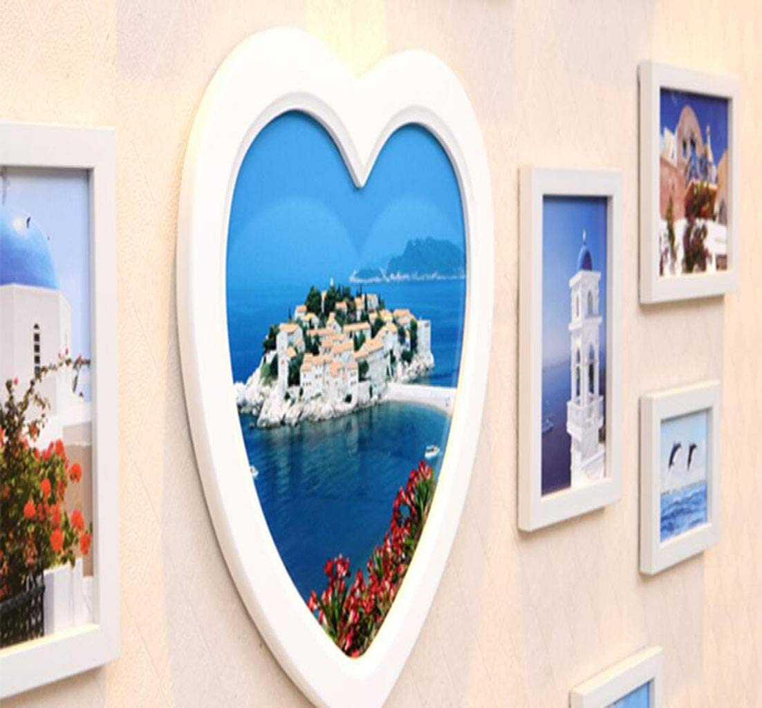 LJXWH Wall Photo Frame Wall LJXWH a Forma di Cuore Europeo Matrimonio Romantico Wall Photo Wall Soggiorno Photo Wall Combinazione Creativa 17X (Coloreee   Blu, Dimensioni   120  90cm) 667933