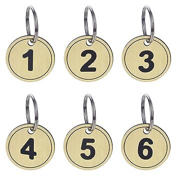 Aspire Etiquetas Clave ABS con anillo Etiquetas de identificación numeradas llavero 50 paquetes Golden 1-50